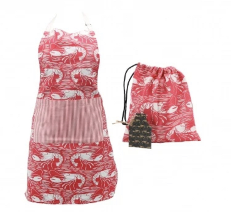 Harbour red lobster apron in gift bag.