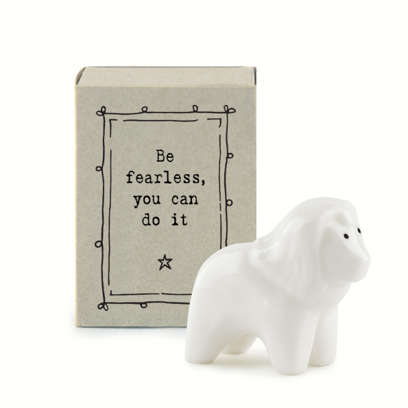 Be fearless you can do it. Lion ceramic matchbox keepsake by east of India