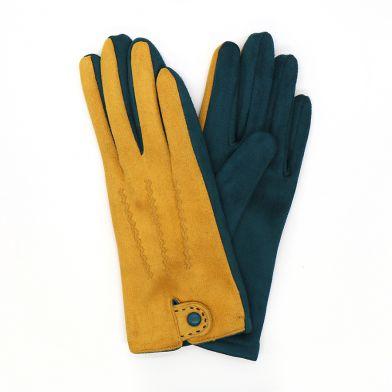 Mustard & dark green faux suede glove