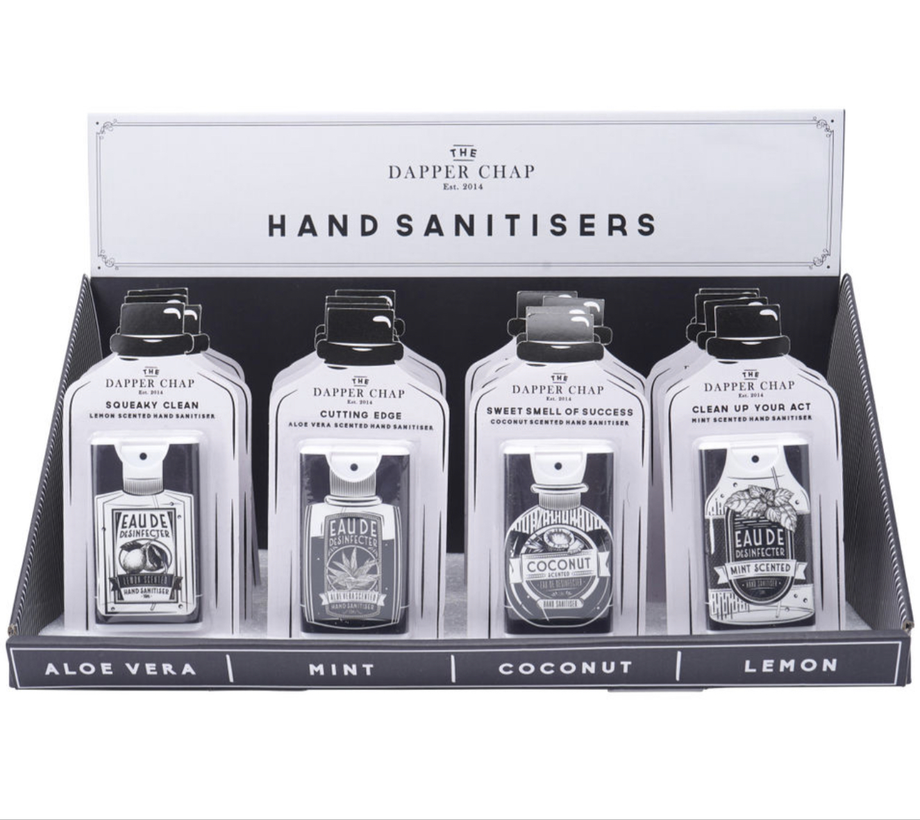Dapper Chap 4 Assorted Hand Sanitisers. Pocket hand sanitiser
