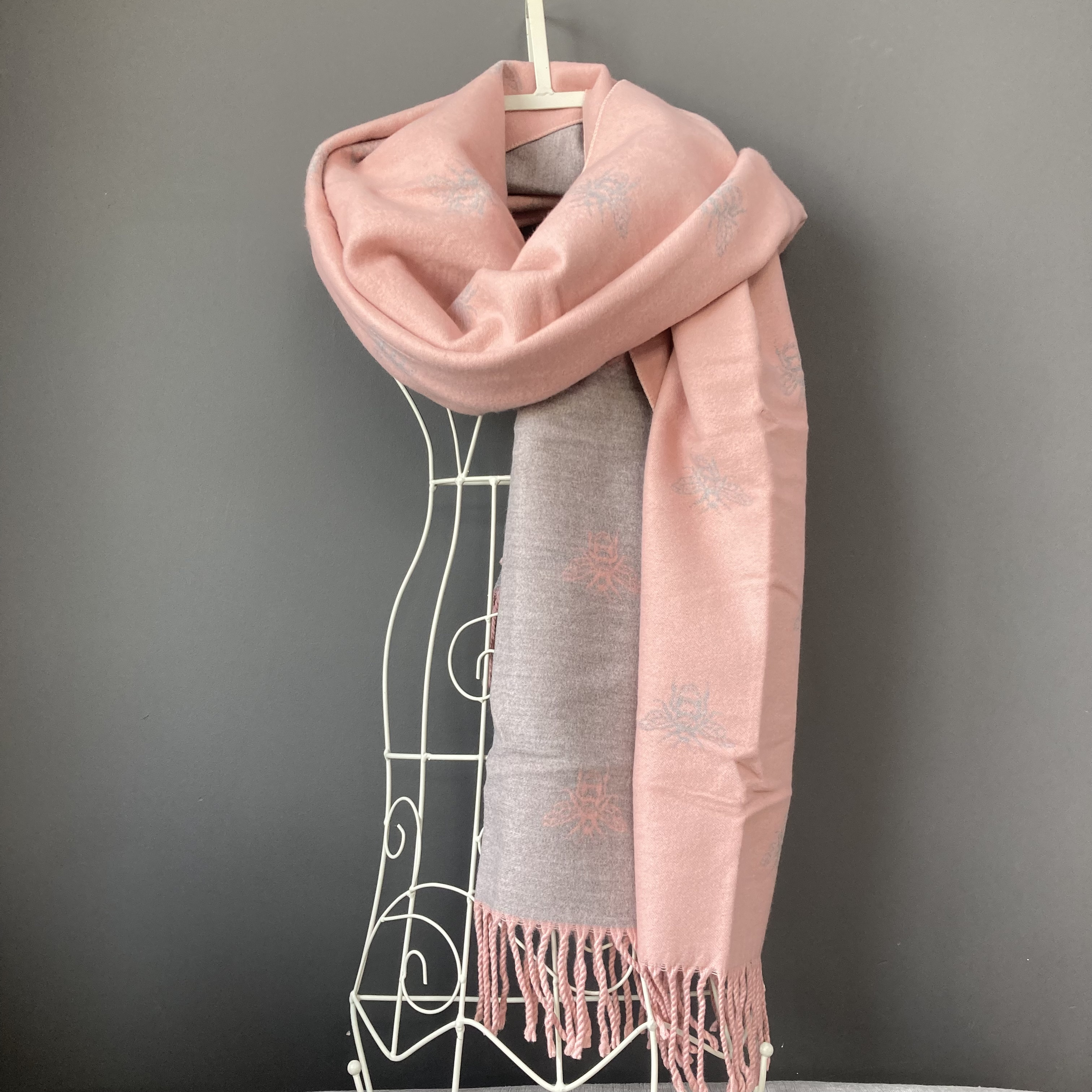 Pale pink/grey bee print soft large scarf/wrap by POM
