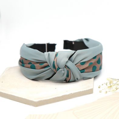 Teal spotty headband. Knotted hairband by POM
