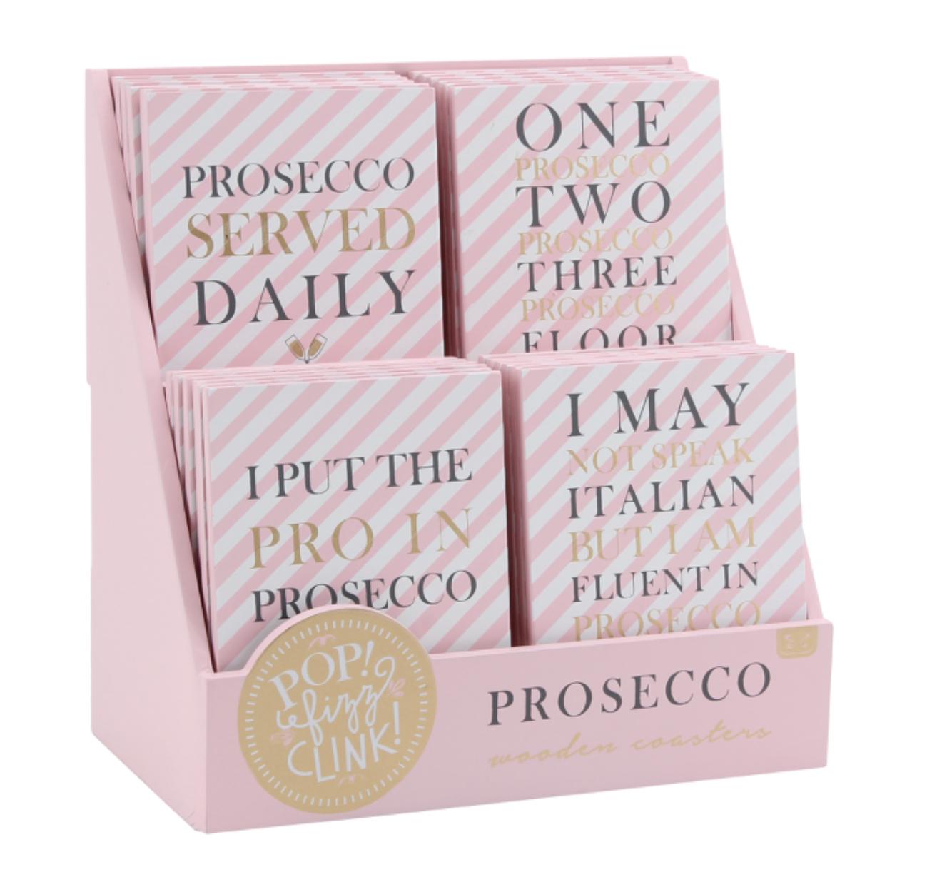 Prosecco coasters. Pop, fizz, clink.
