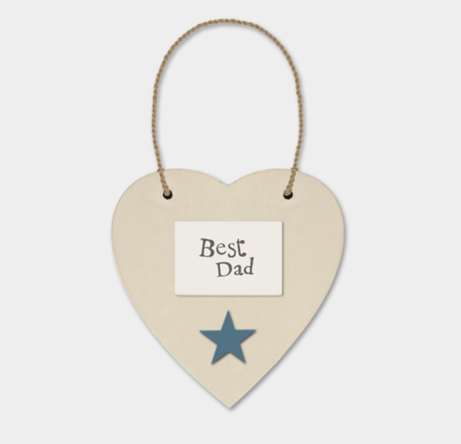Wooden cream hanging heart 'Best Dad' . By east of India