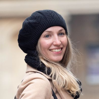 Charcoal black pointelle knitted beret by POM