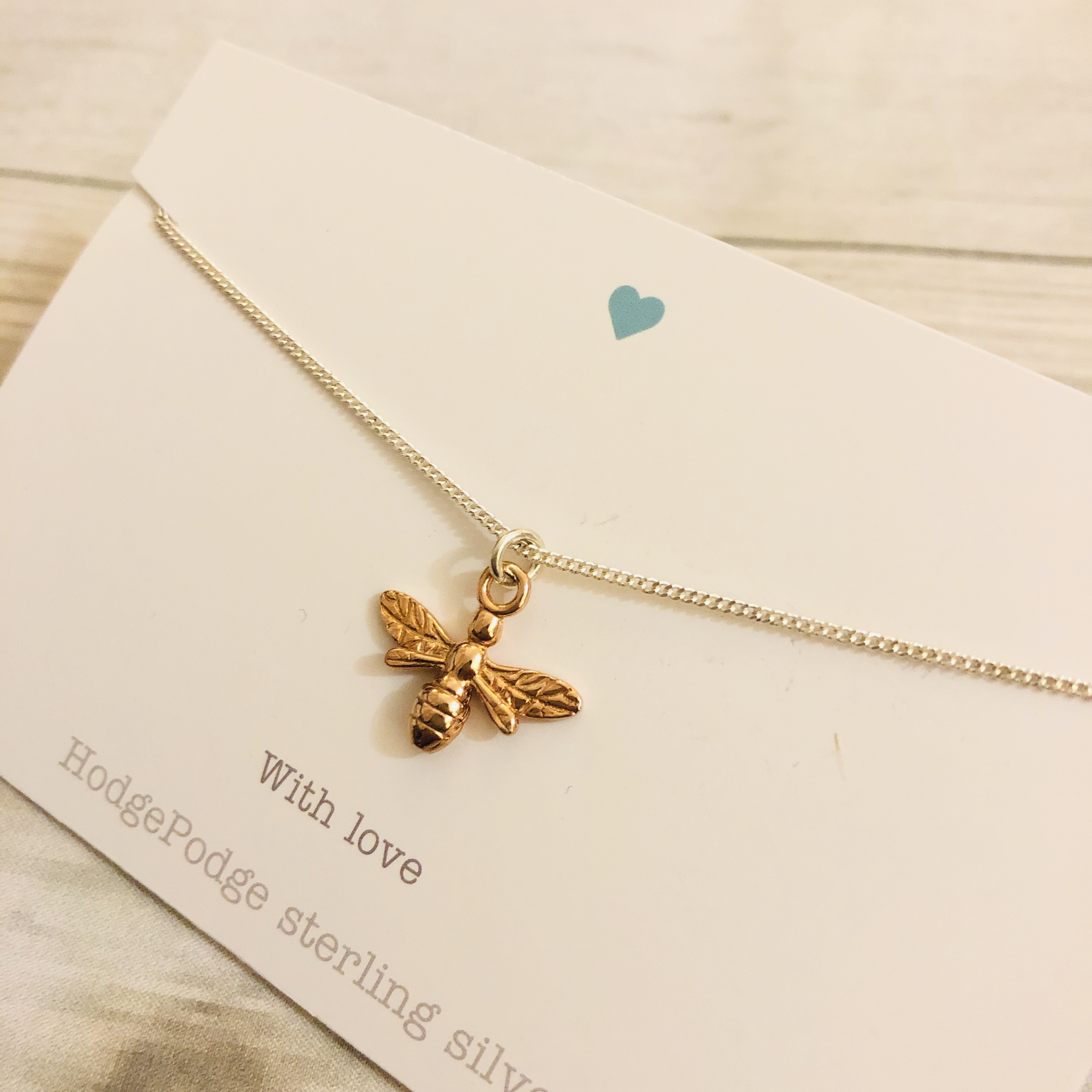 Rose gold bee necklace. Sterling silver