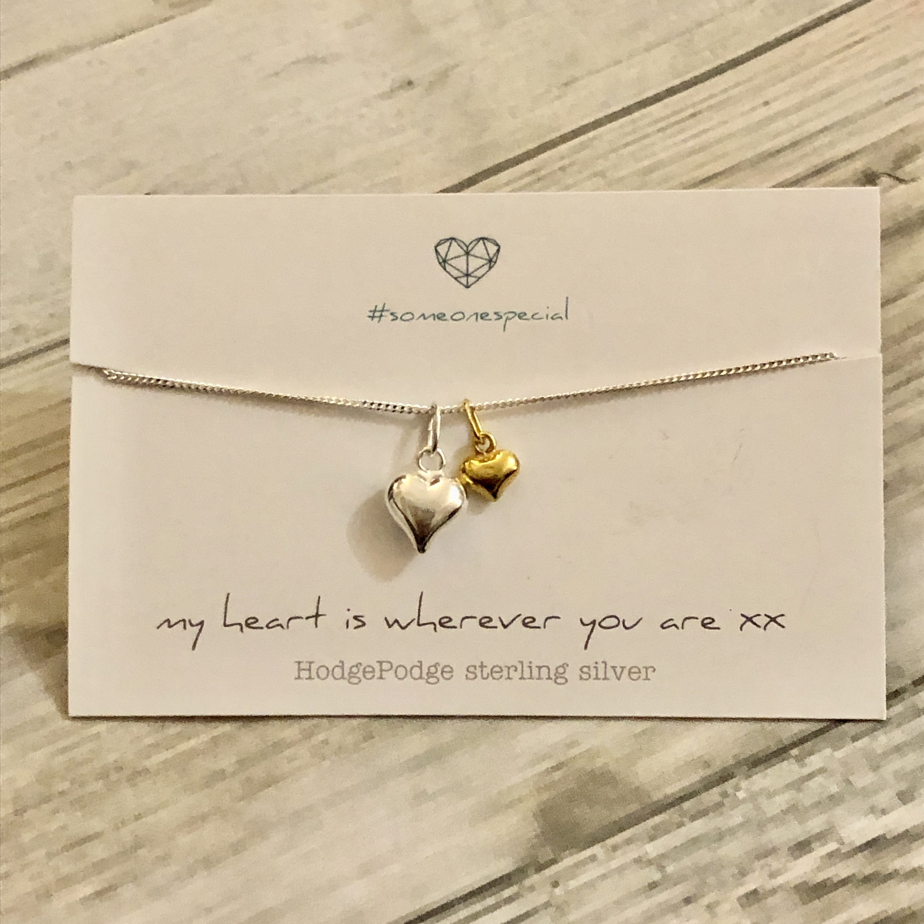 Double heart sterling silver and gold plate necklace. My heart is wherever you are.