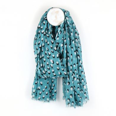 Teal scarf with white dot and shadow print by POM