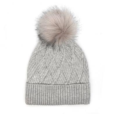 Grey diamond knit hat with faux fur bobble By Pom