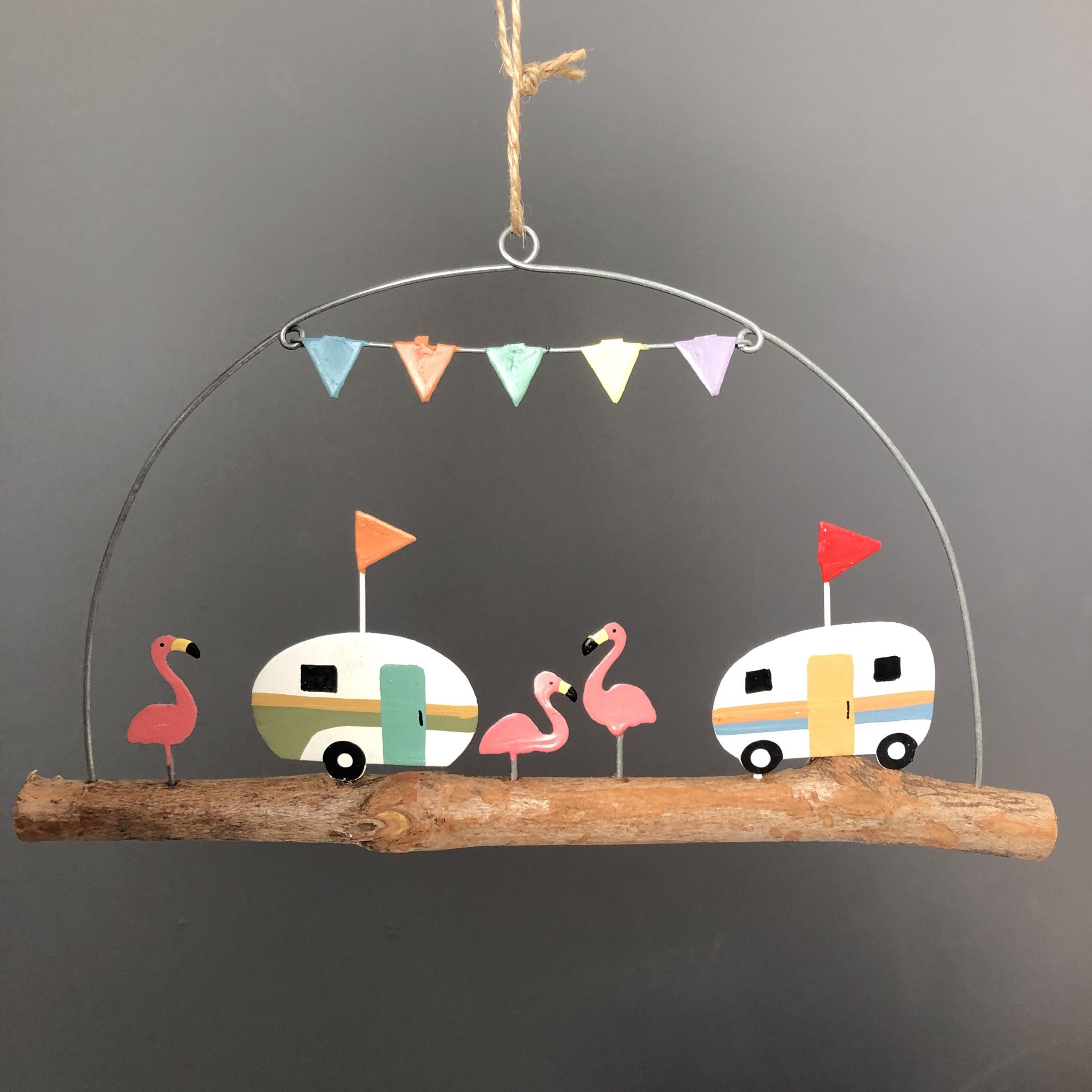 Retro Caravan and flamingo on stick hanging decoration by shoeless joe