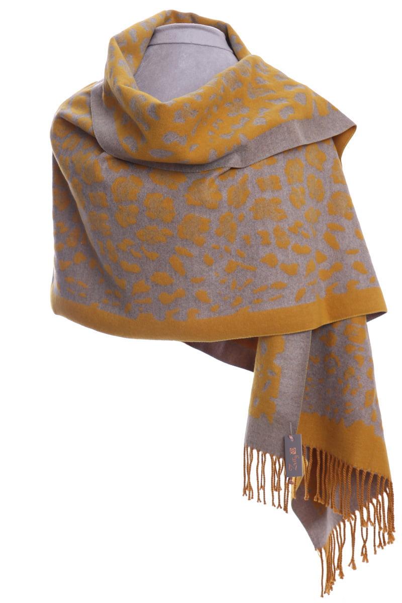 Mustard animal print luxury wrap/scarf by Zelly