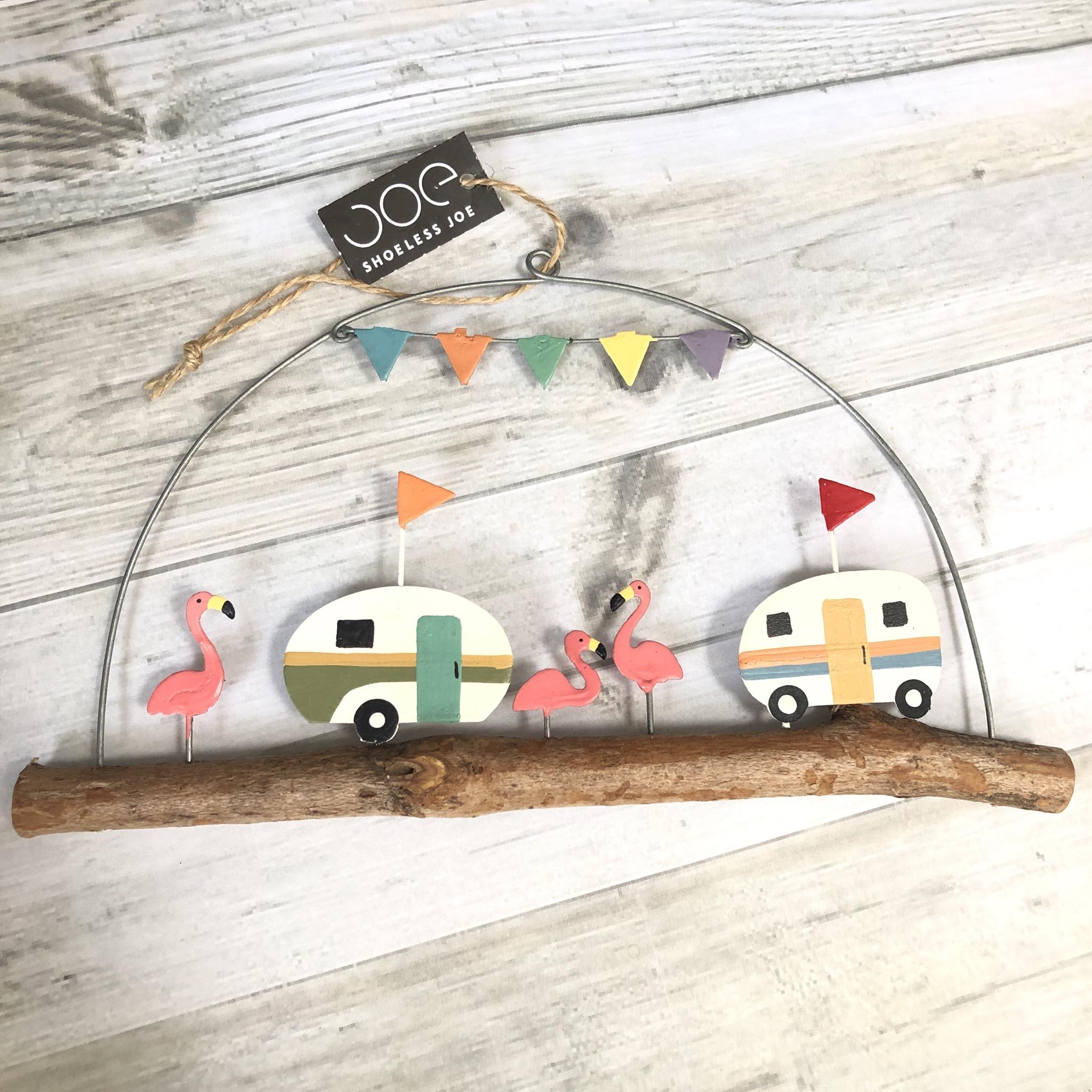 Retro Caravan and flamingo on stick hanging decoration by shoeless joe