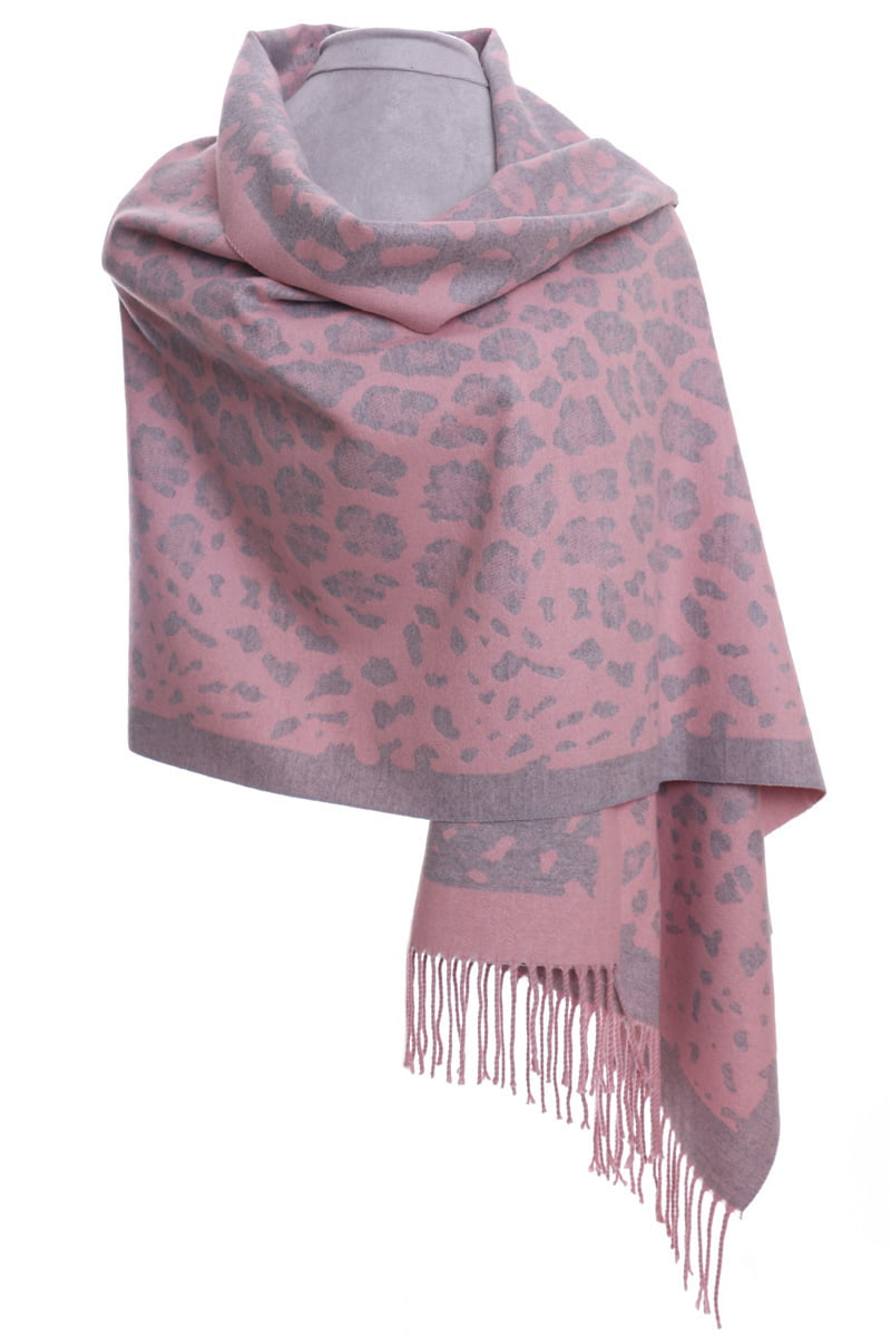 Pink & grey animal print luxury wrap/scarf by Zelly