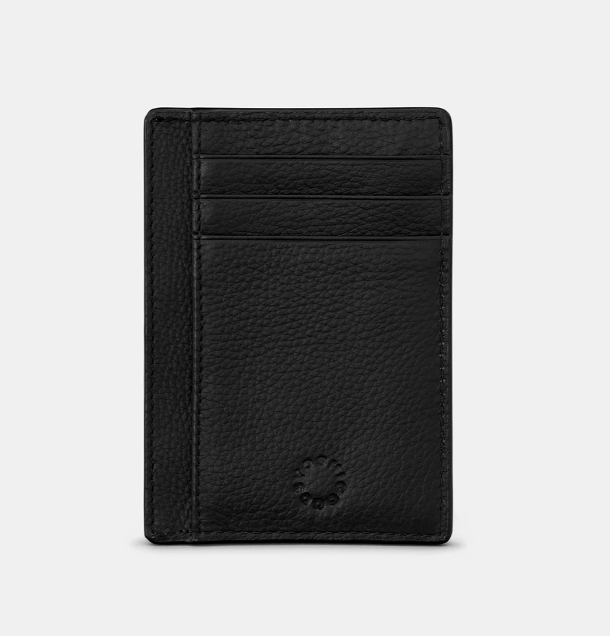 BLACK LEATHER CARD HOLDER WITH ID WINDOW