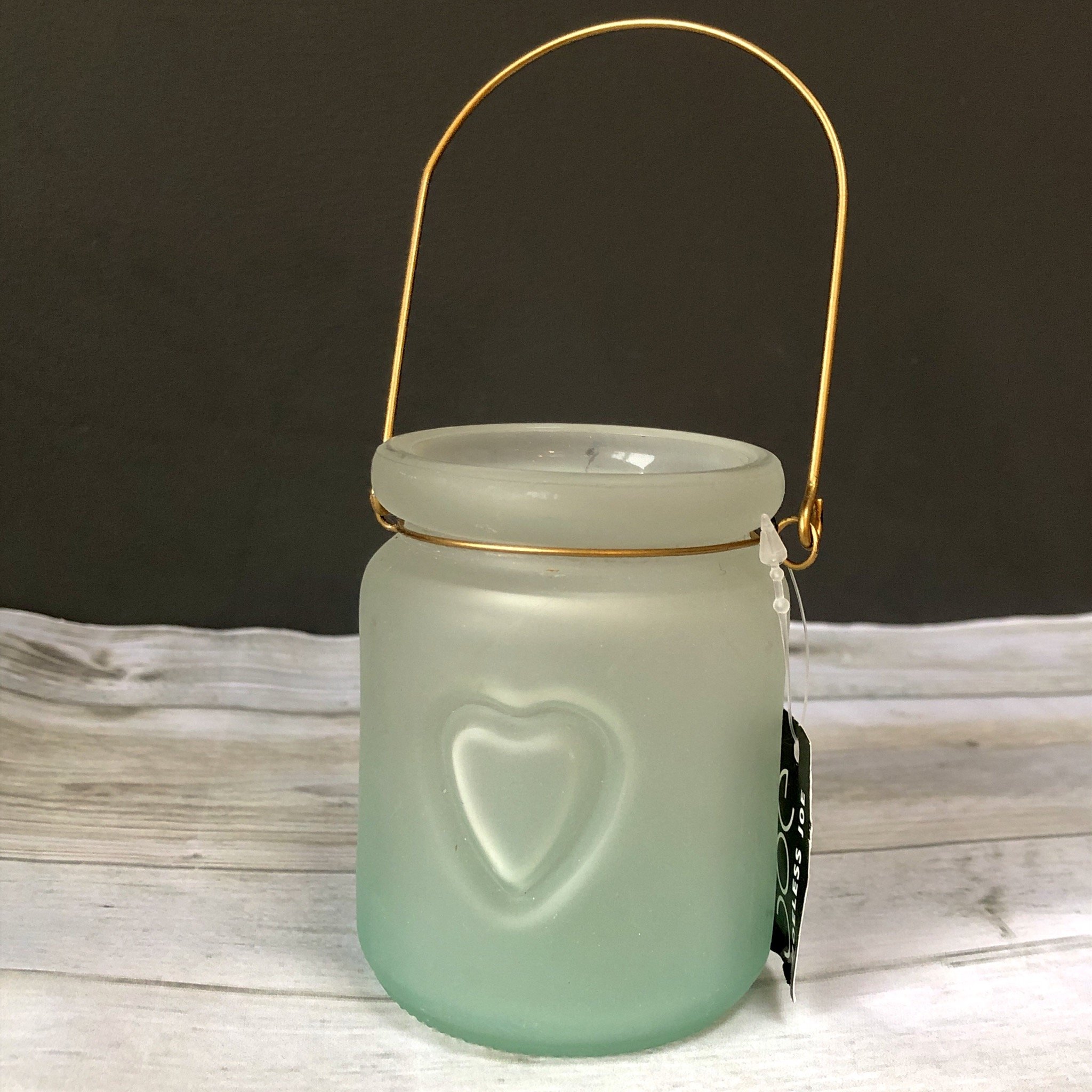 Frosted glass t light jar with heart by shoeless joe