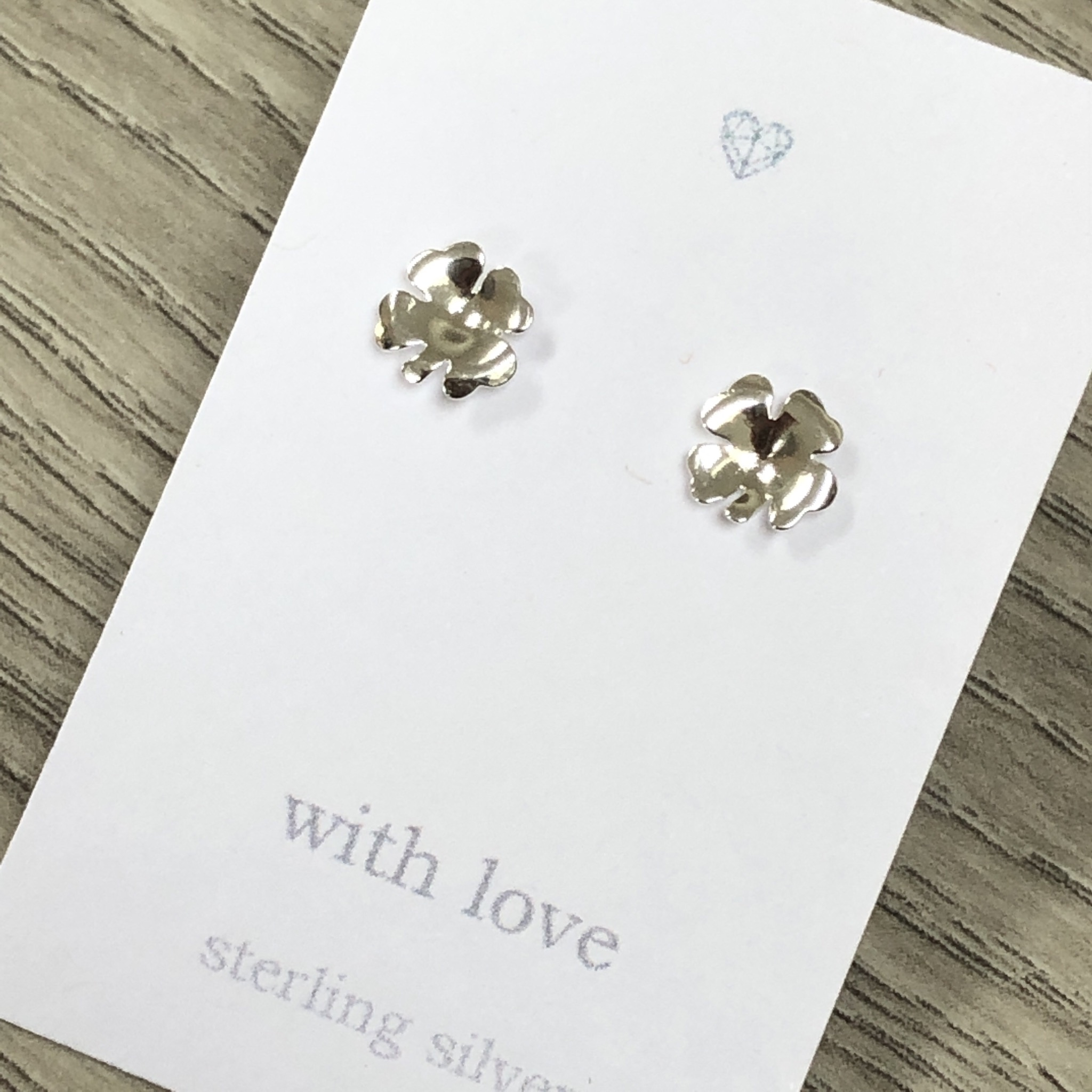 Four leaf clover sterling silver stud earrings