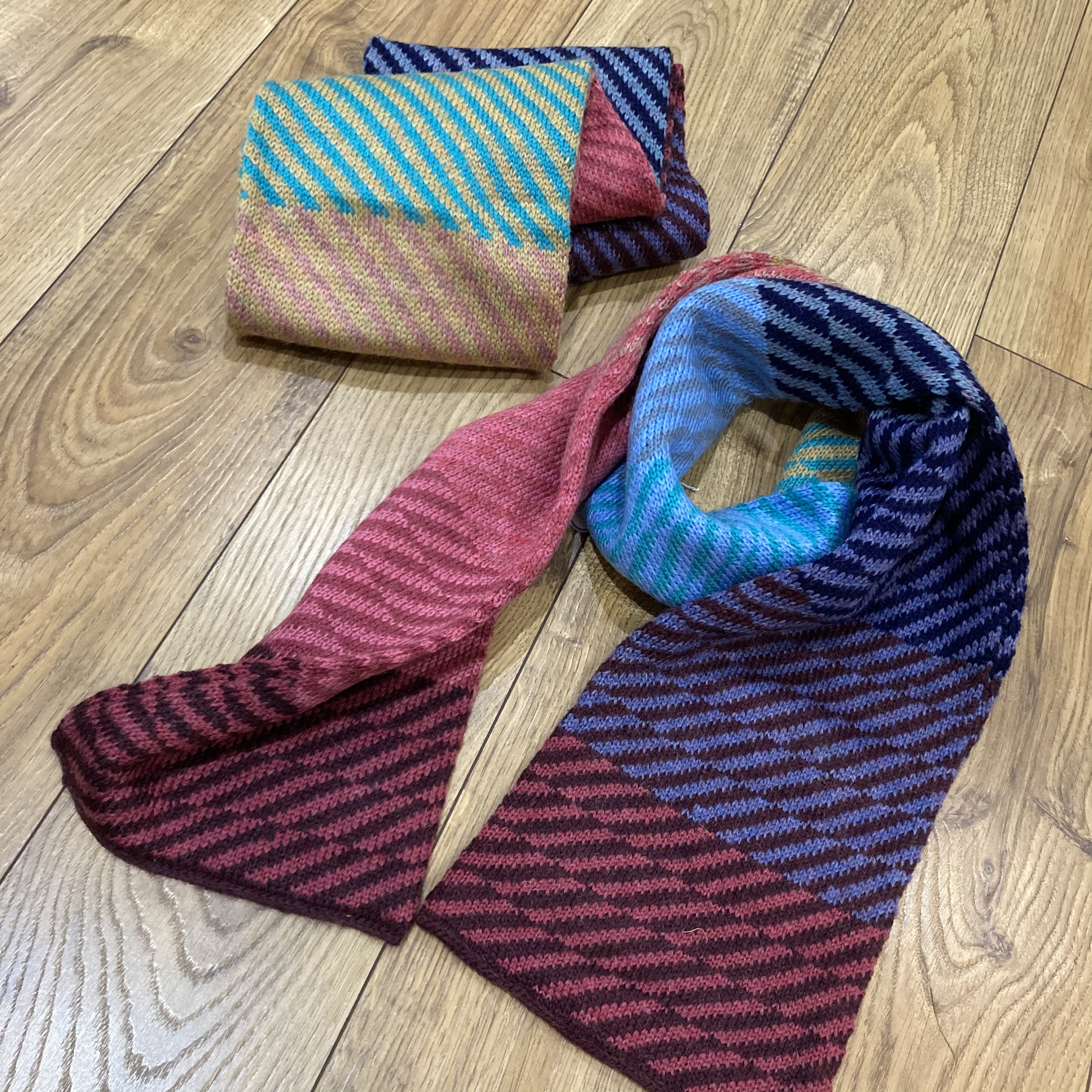 Knitted multi coloured  diagonally striped scarf by Big Knit