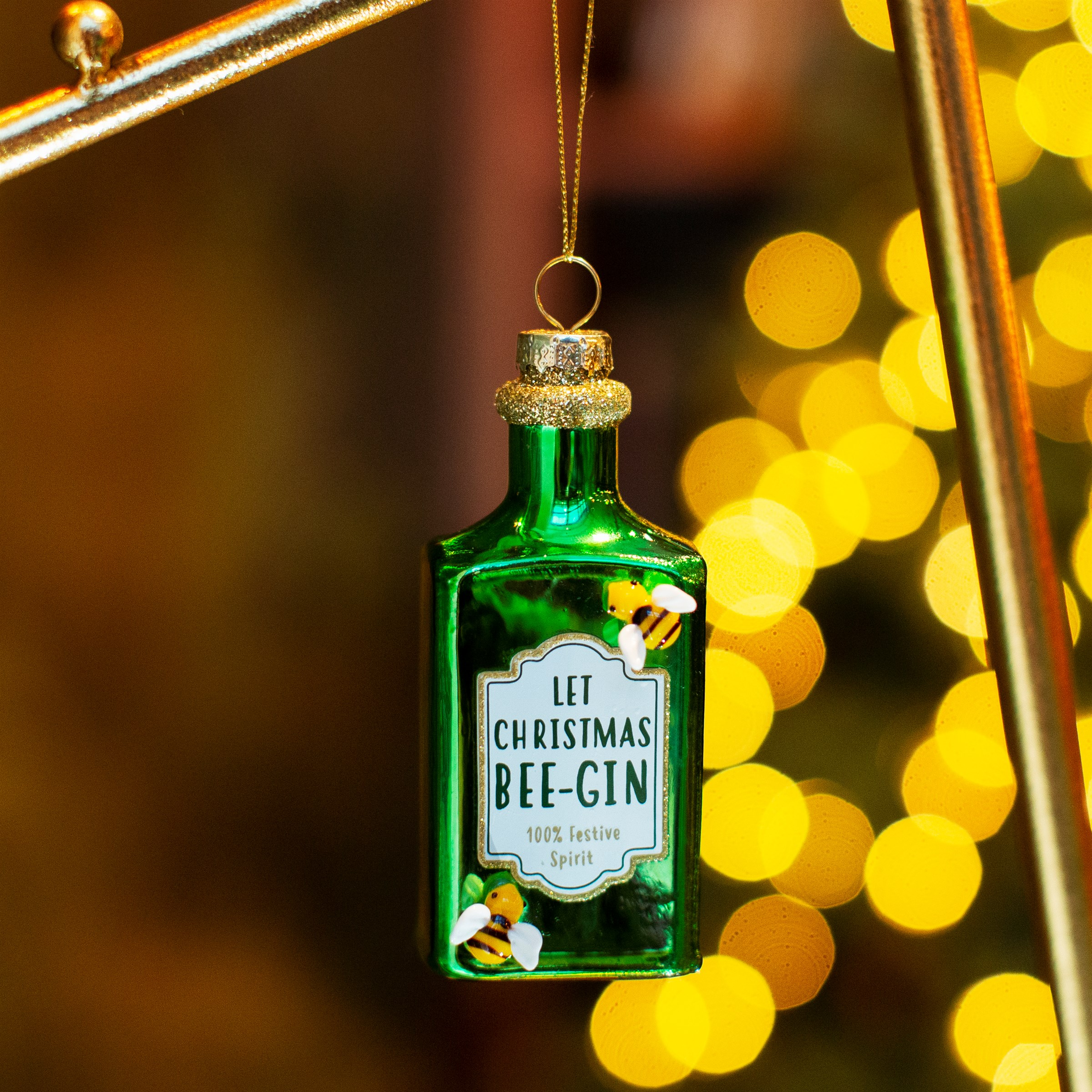 Let Christmas Bee gin  glass bauble by sass & belle