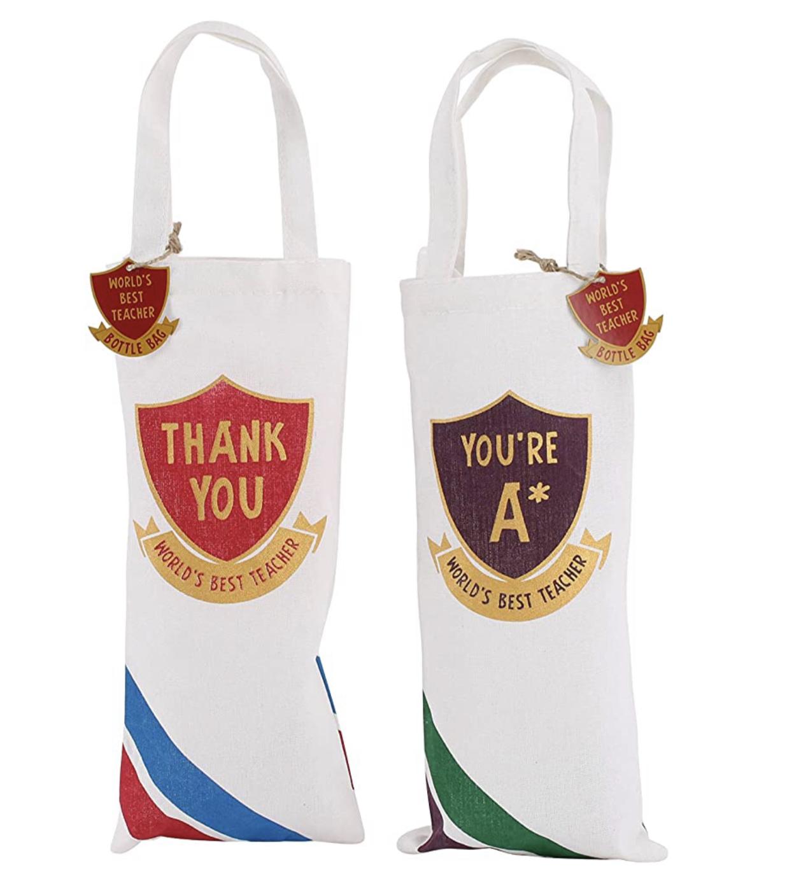 Reusable Canvas Bottle Bags teacher gifts . Thank You World's Best Teacher Gift. You're A*