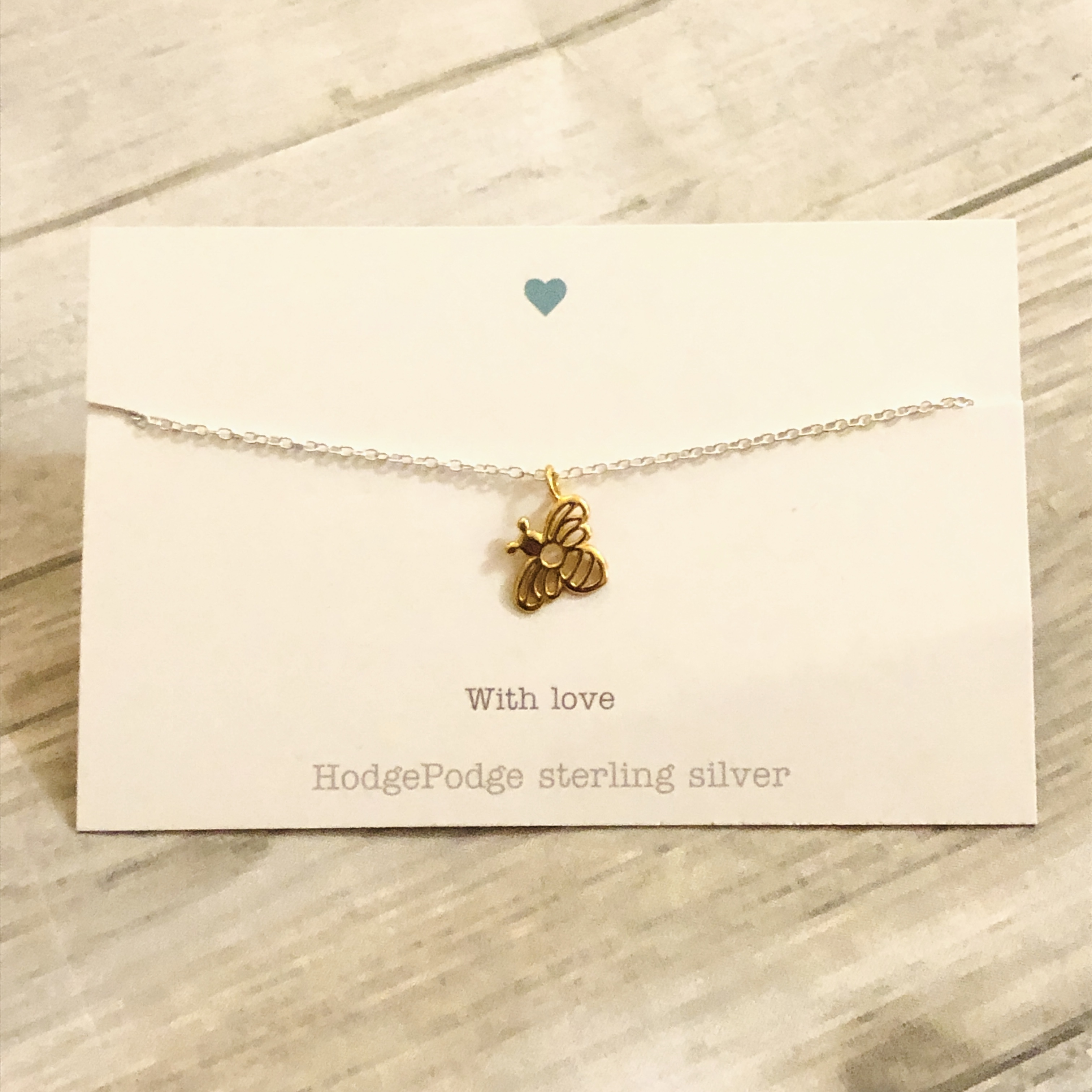 Gold bee sterling silver necklace