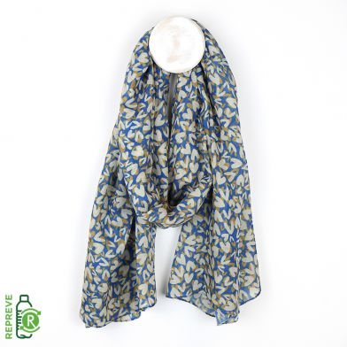 Blue recycled scarf with layered heart print. Recycled plastic bottle scarf by POM