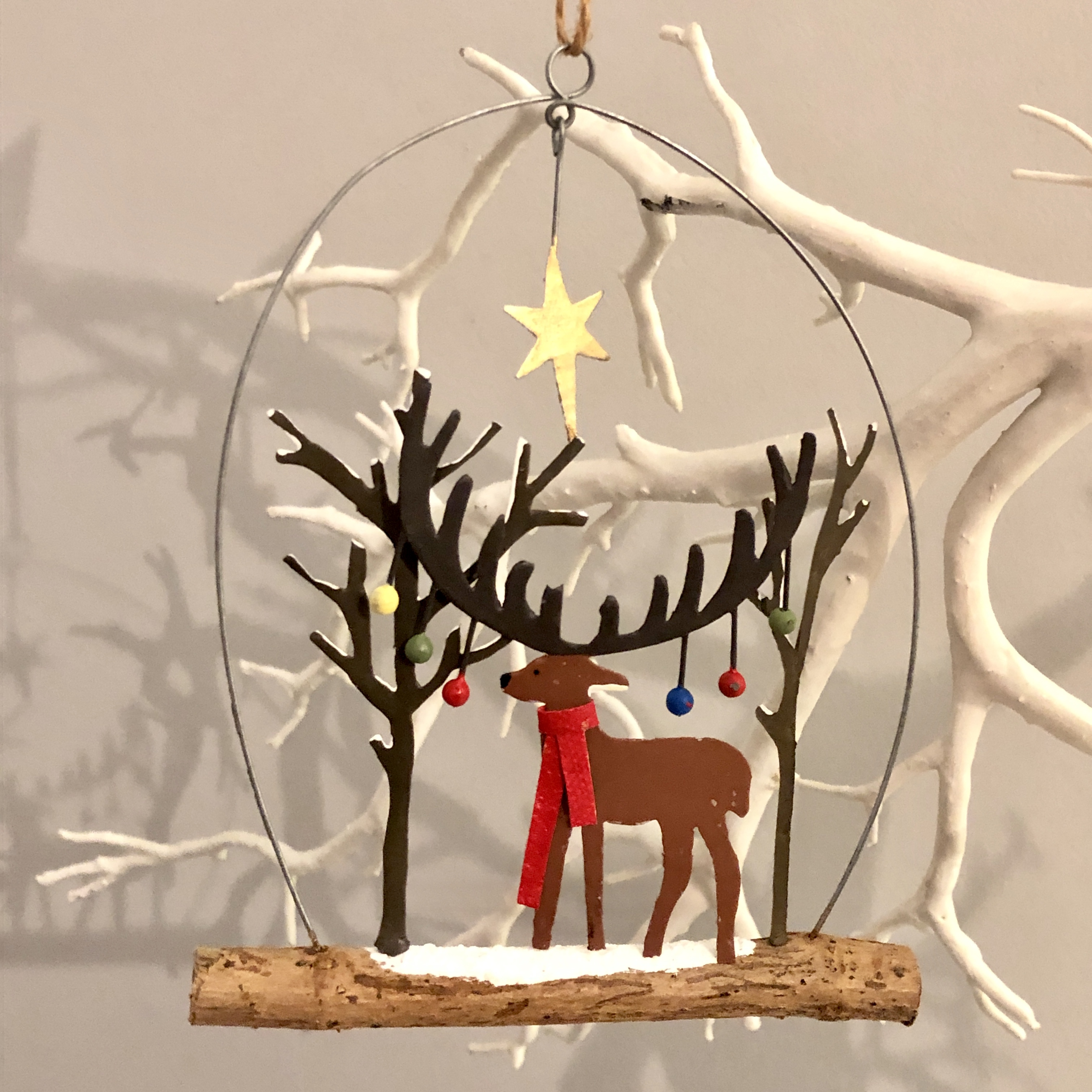 Bauble stag hanging decoration by shoeless joe