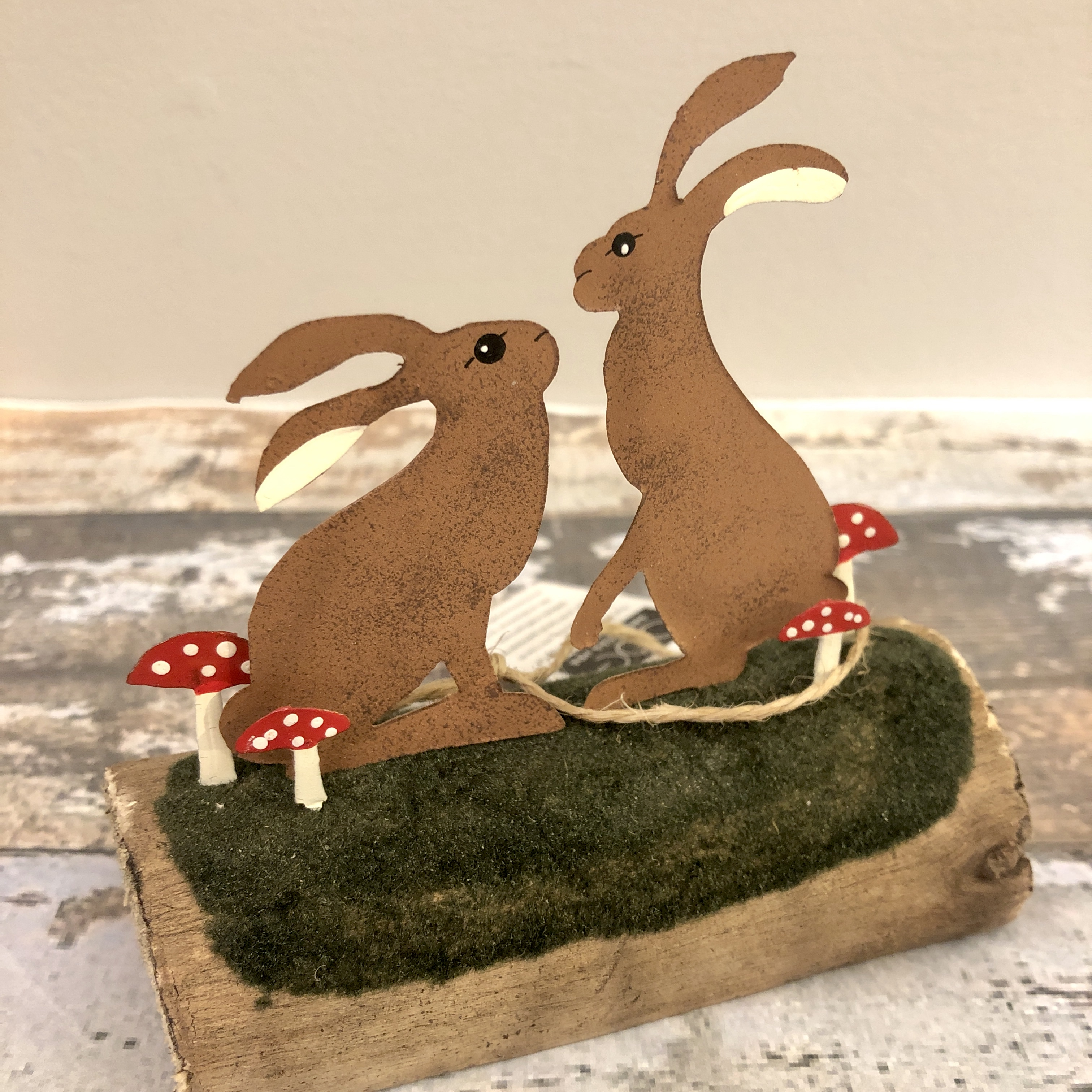 Hare couple on wooden block standing ornament by shoeless joe