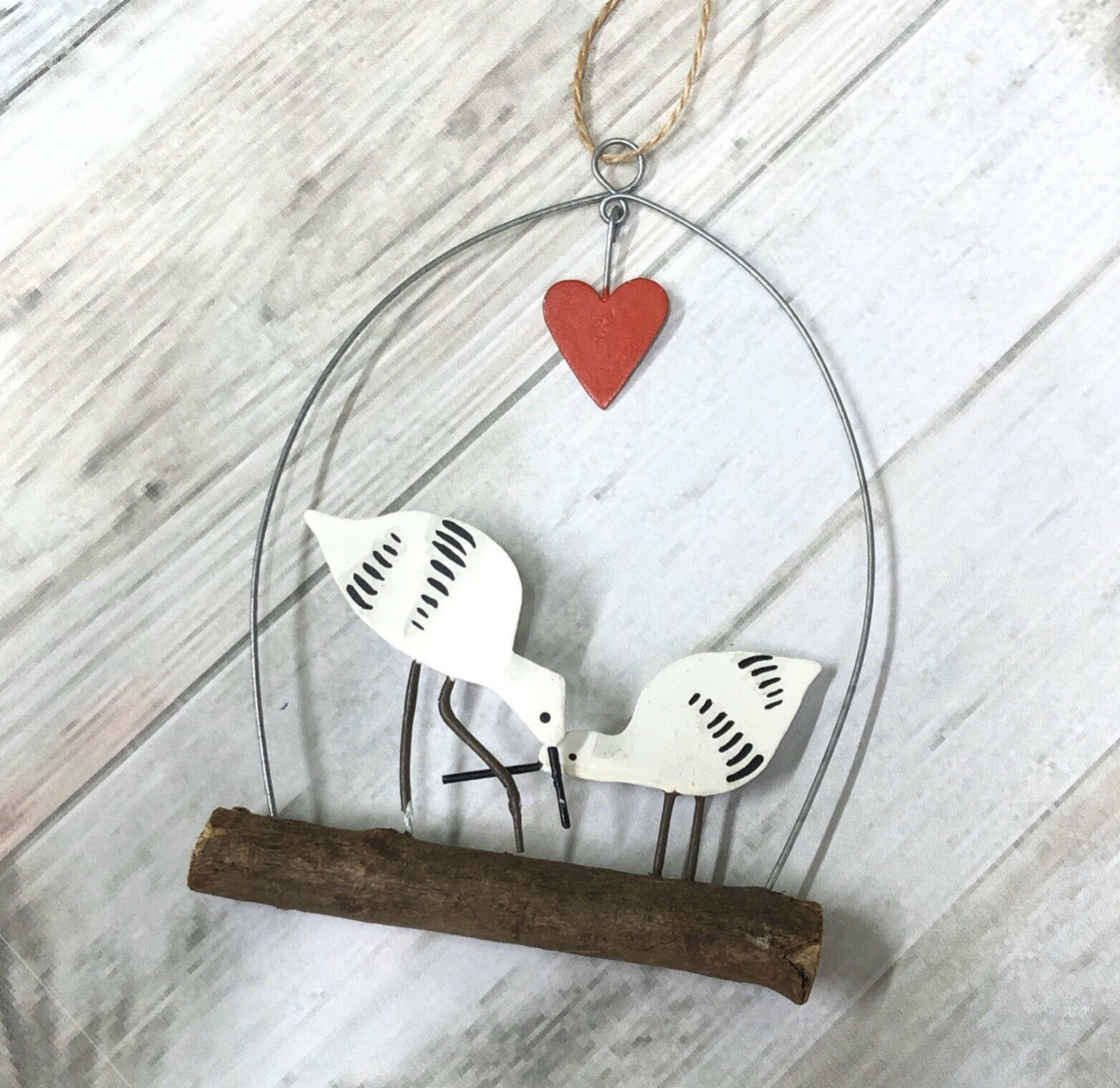 Avocet love story hanging decoration by Shoeless Joe