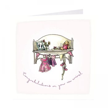Baby girl card . Nursery shelf