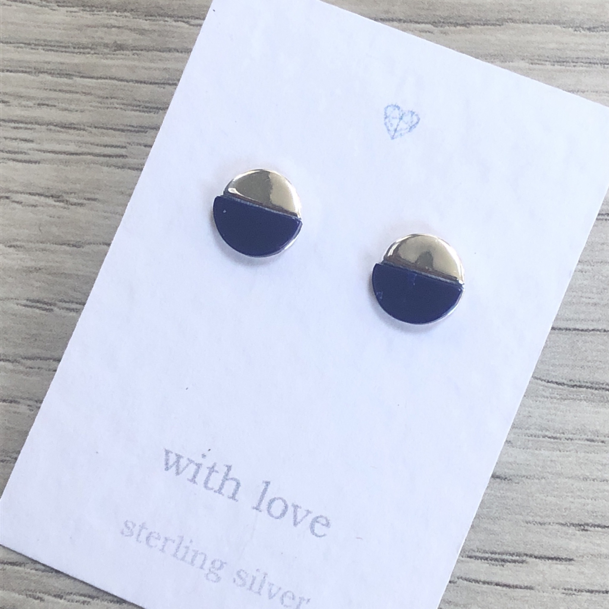 Circle earrings with navy semicircle. Stud earrings