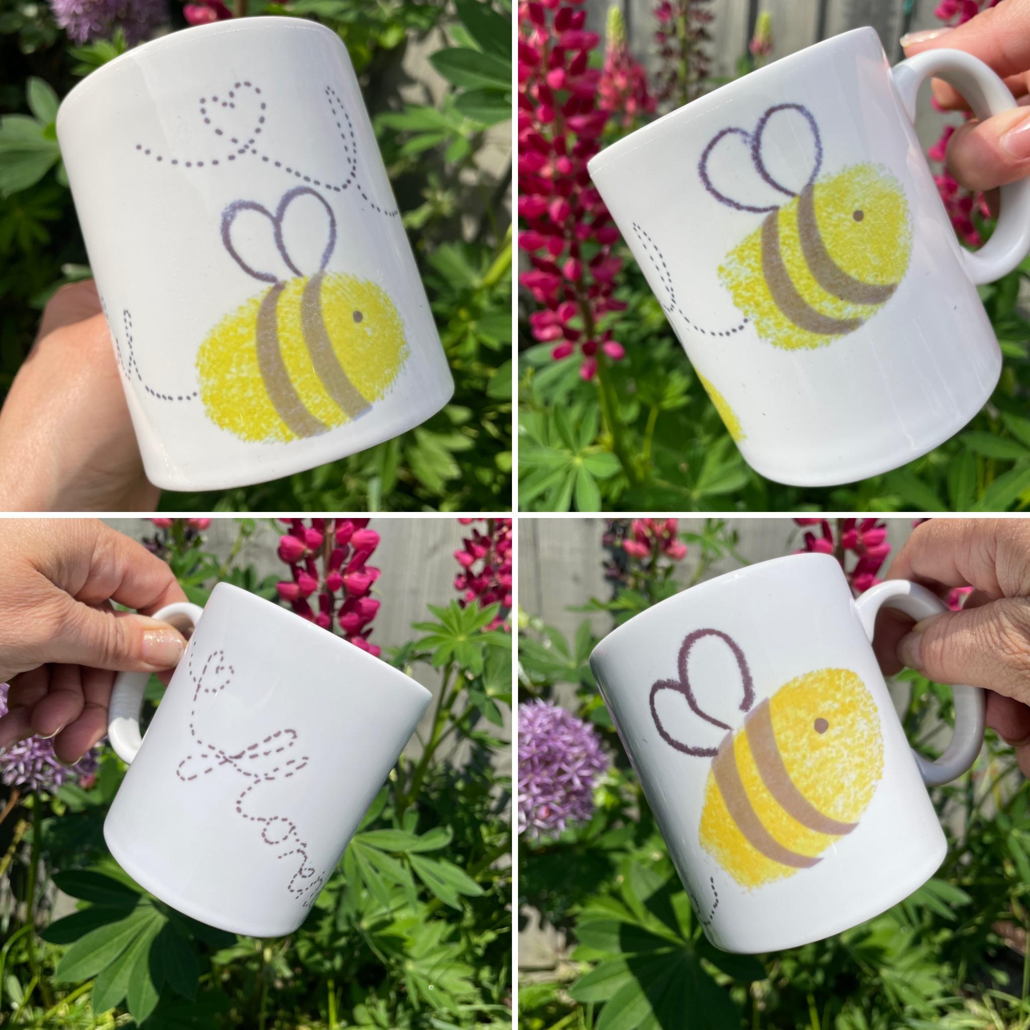 Personalised busy bumble bee finger print ceramic mug.