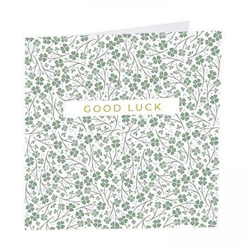 Good luck card. Four leaf clover.