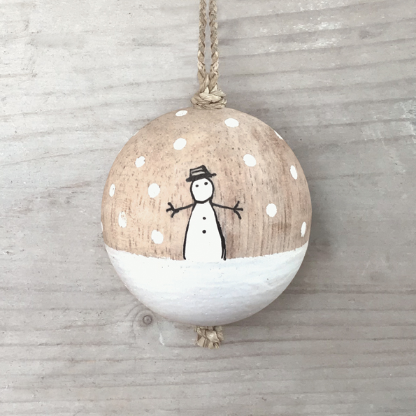 Wooden bauble wobbly snowman scene by East of India