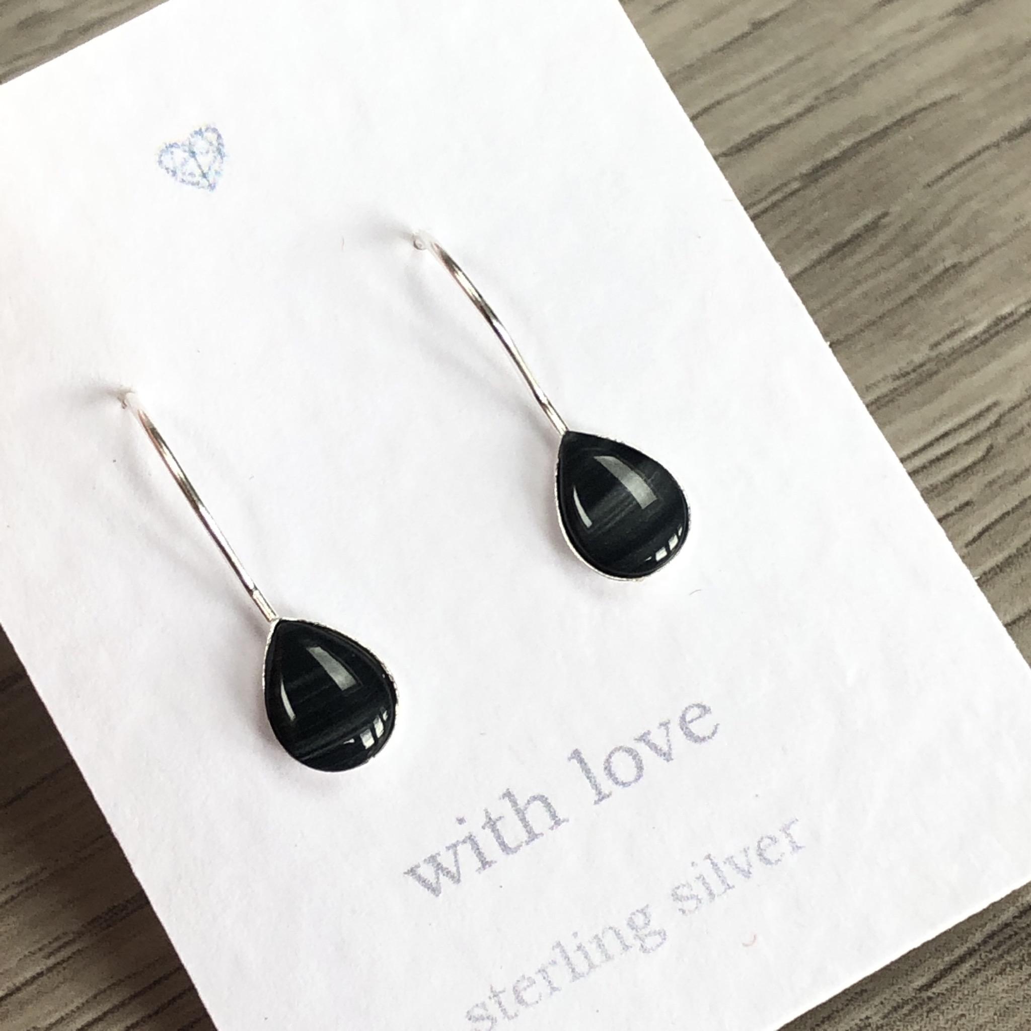 Black tear drop Sterling Silver drop earrings.