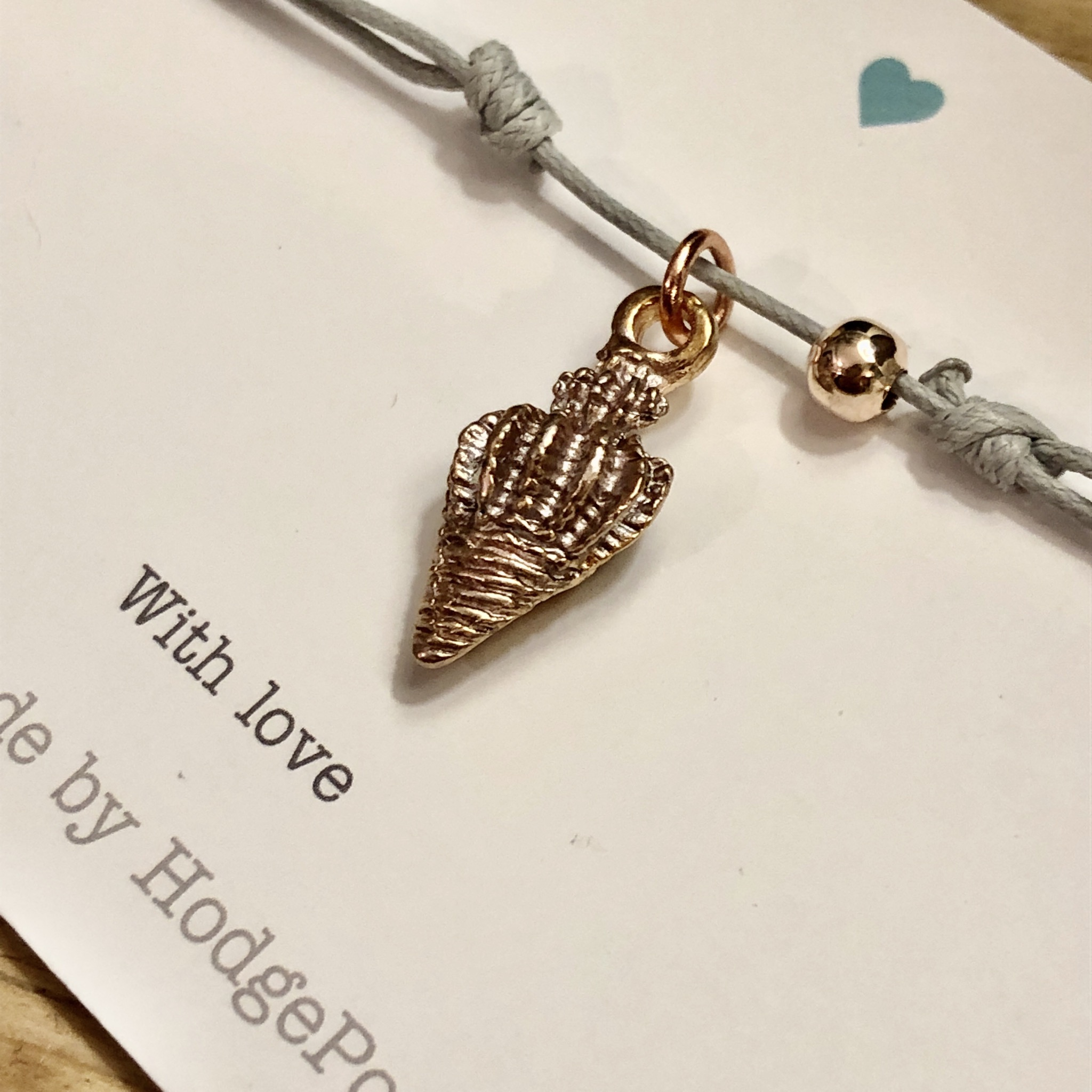 Spiral Shell charm adjustable cord bracelet 5 colours to choose from