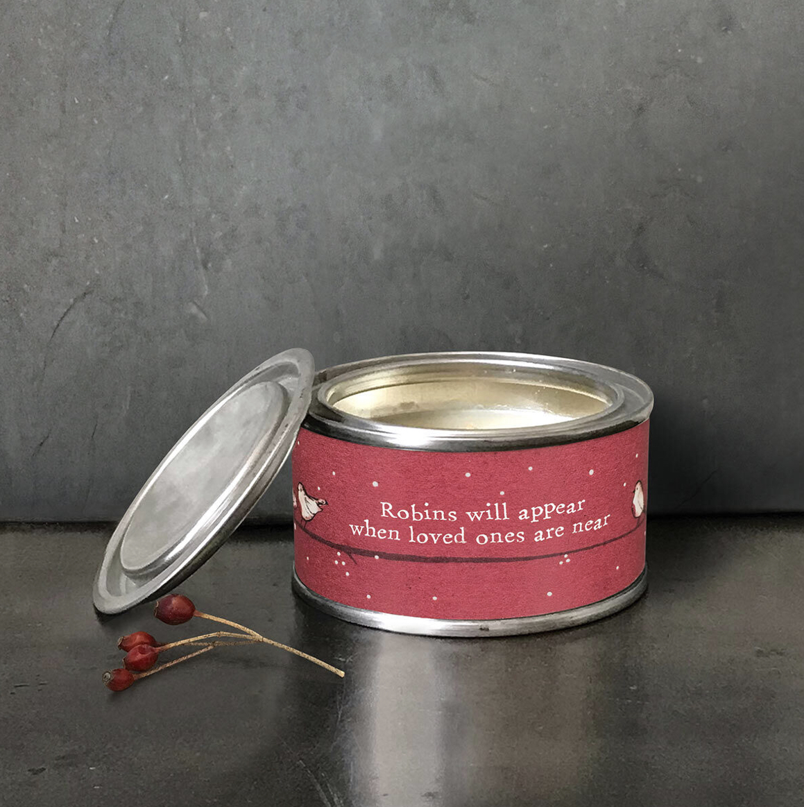 Robins will appear when loved ones are near, tinned scented candle by east of India