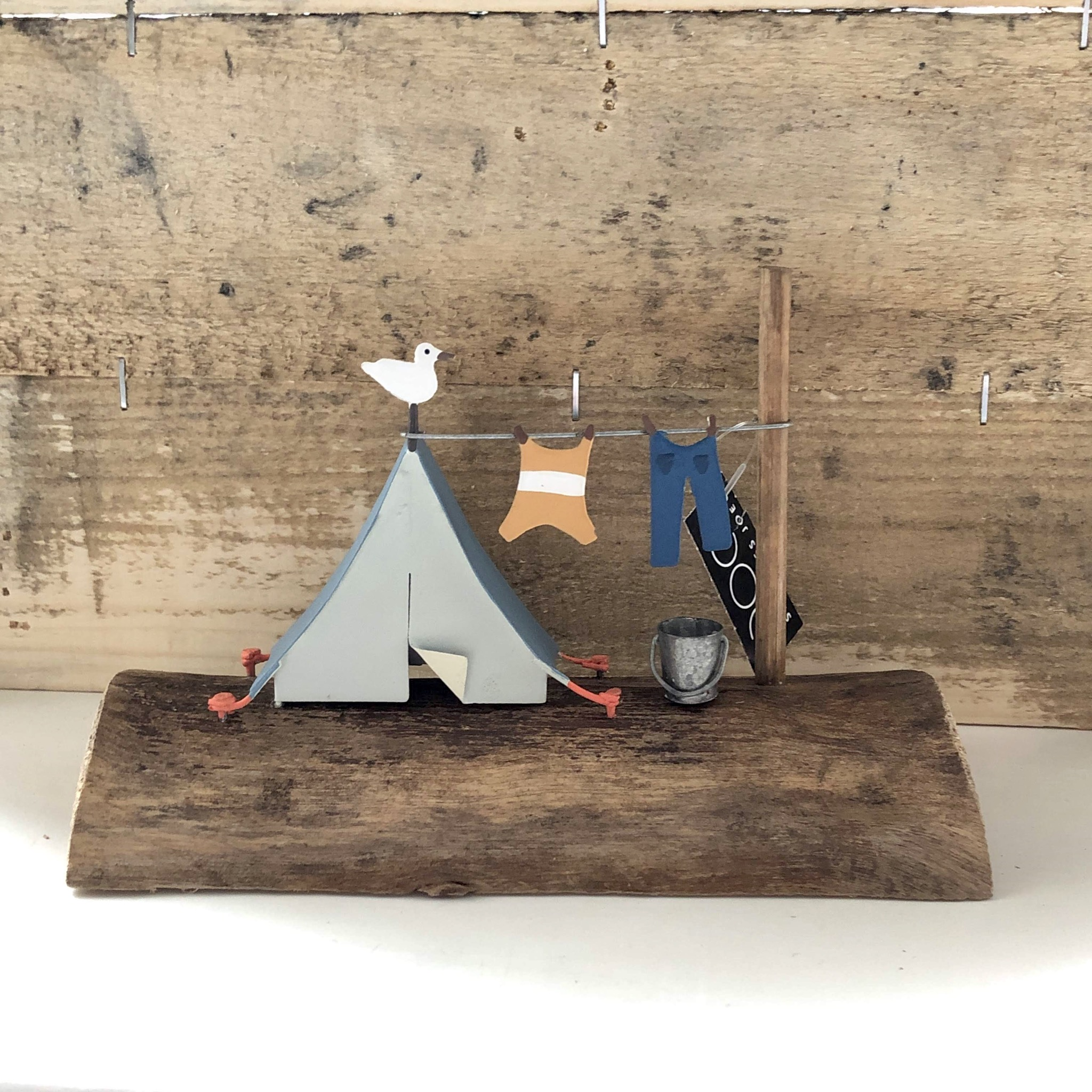 Seaside camp. Retro blue tent ornament by shoeless joe