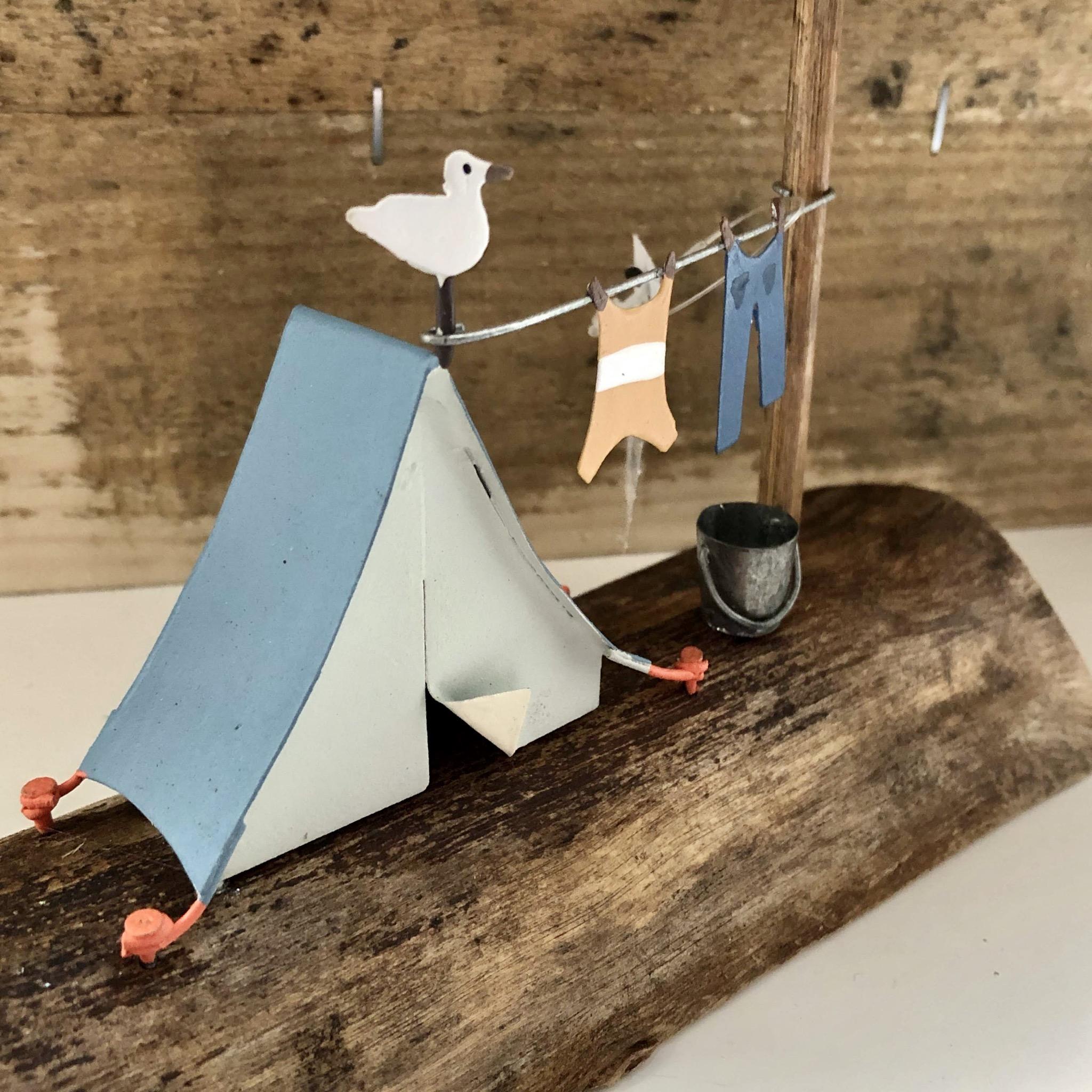 Seaside camp. Retro blue tent ornament by shoeless joe