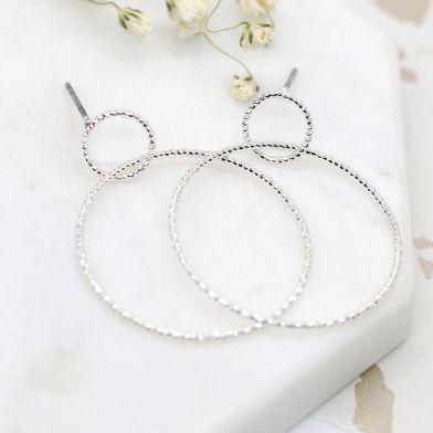 Silver plated double texture hoop stud earrings