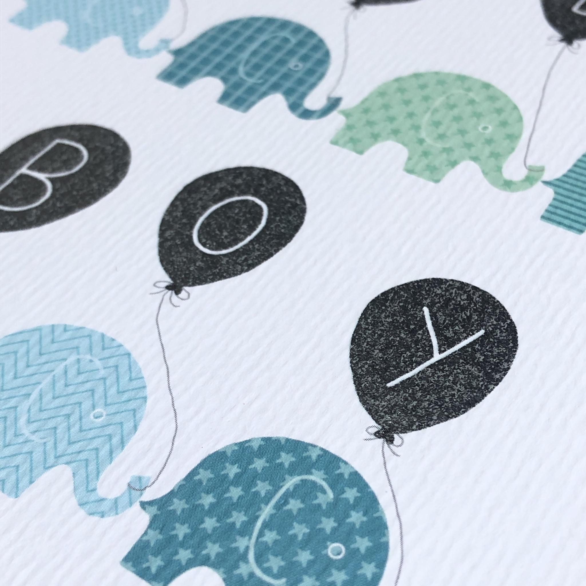 Baby boy new baby card. Elephants
