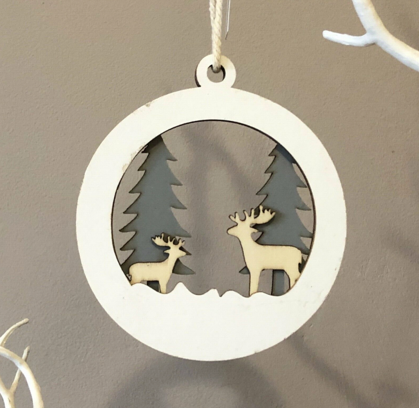 Deer family silhouette wooden Christmas decoration By shoeless joe