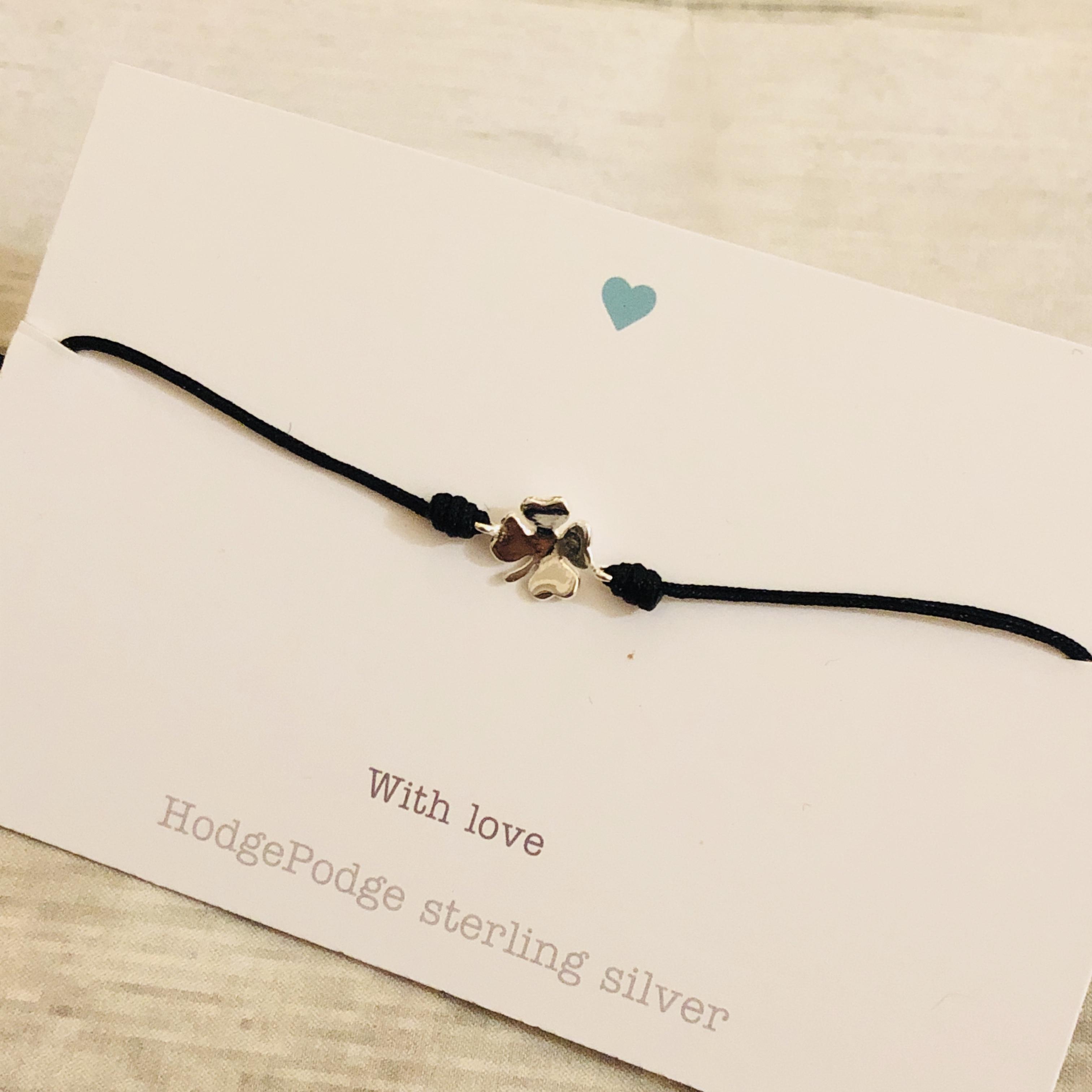 Four leaf clover sterling silver charm adjustable cord bracelet