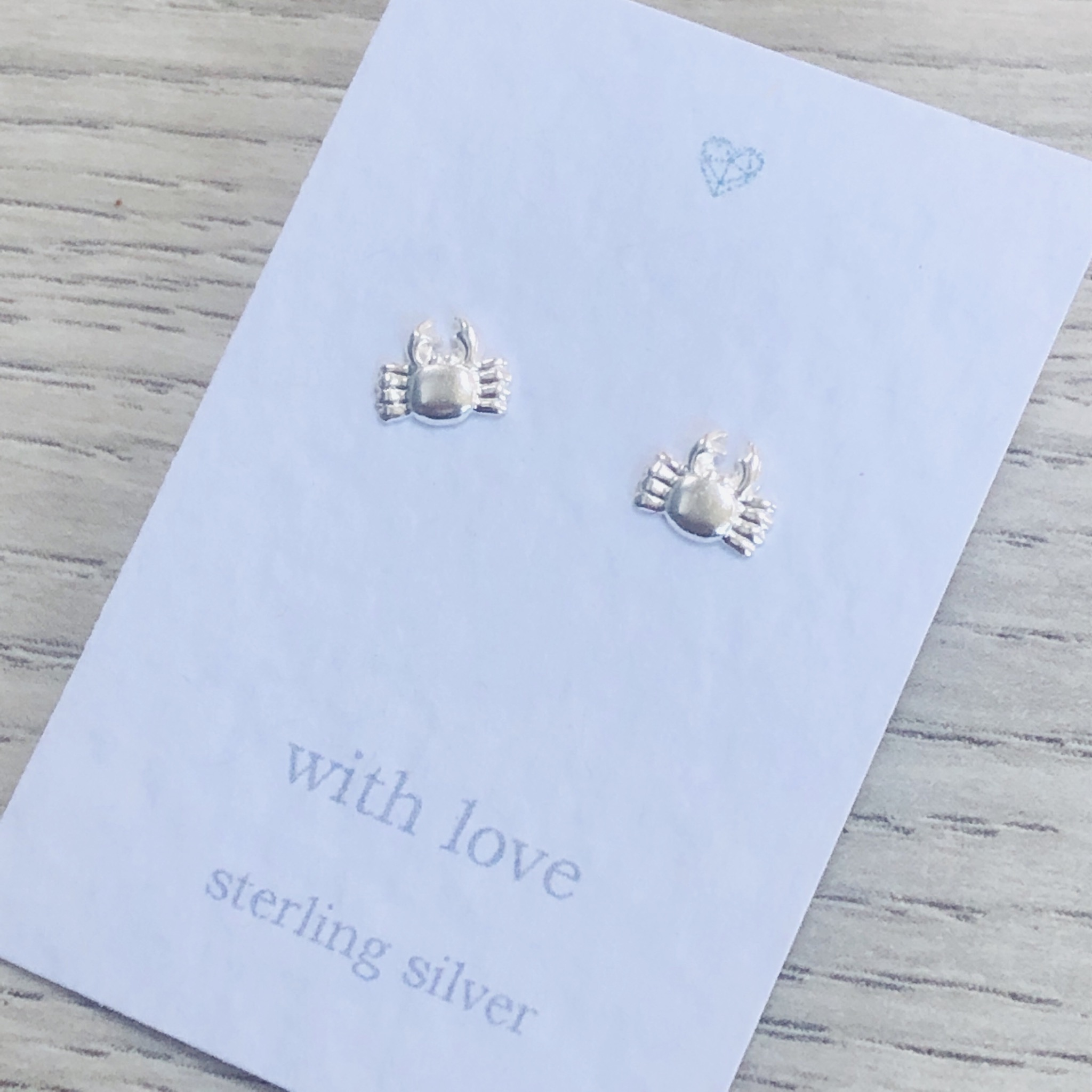 Crab stud earrings sterling silver