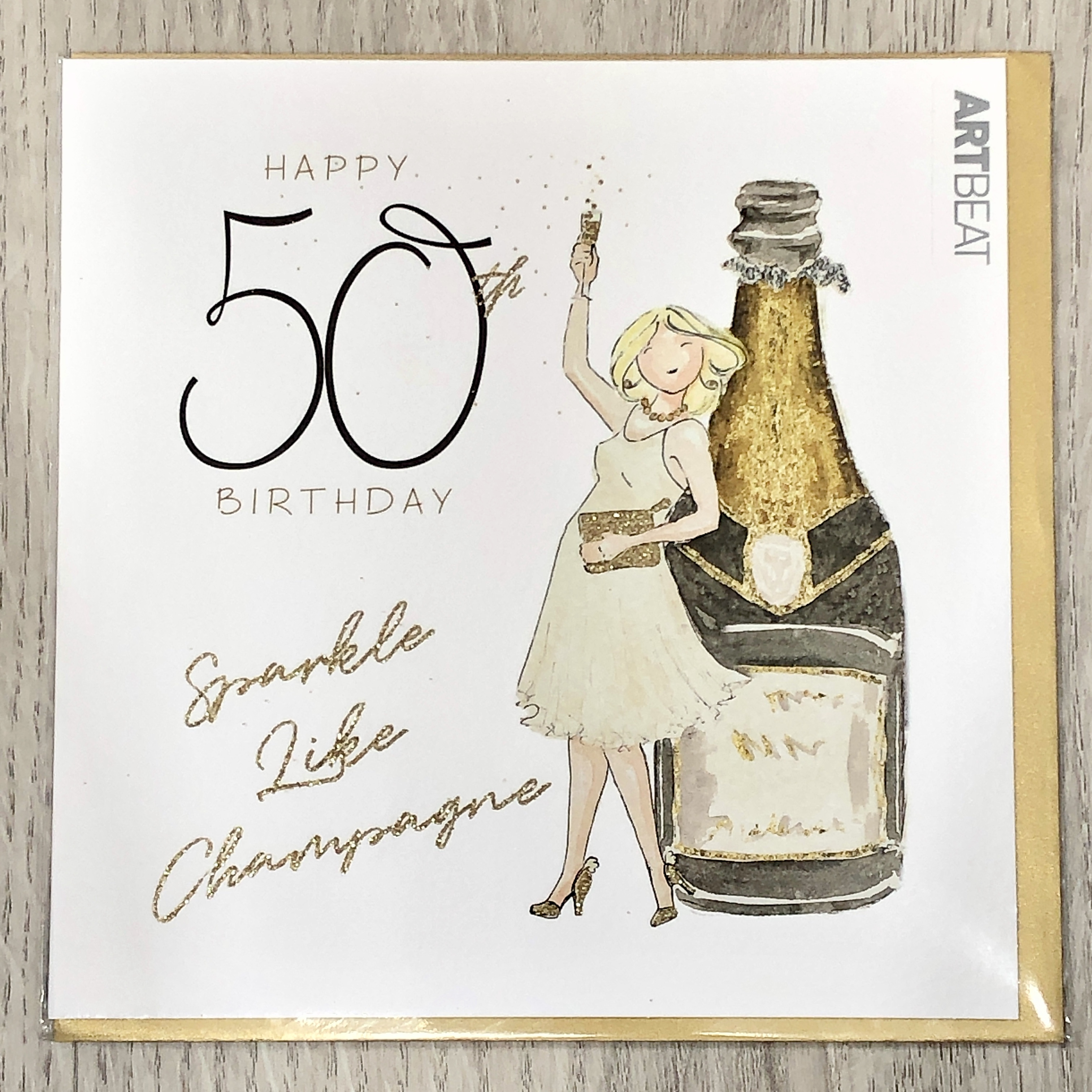 50th Birthday card.  Sparkle like champagne