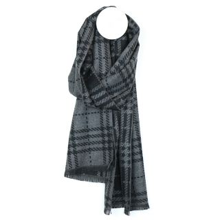 Black & grey long check soft feel men's reversible scarf by PoM