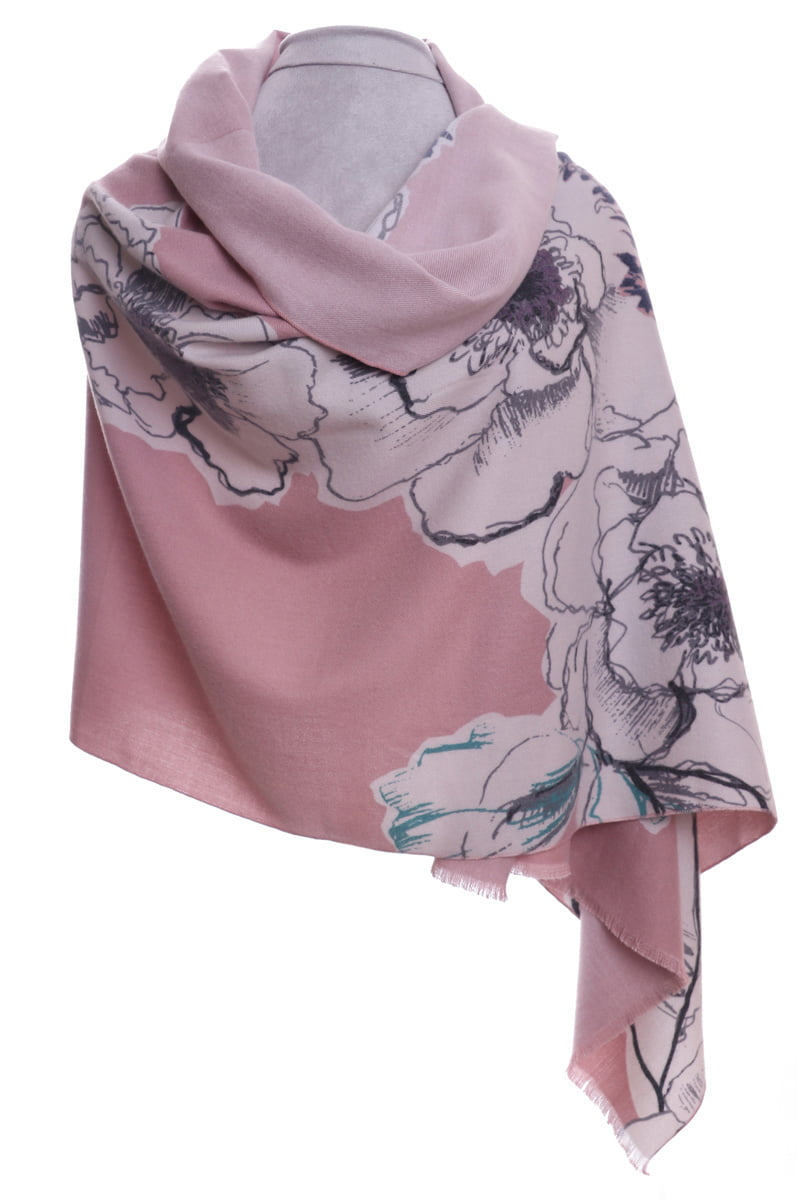 Dusky pink winter floral wrap/scarf by Zelly
