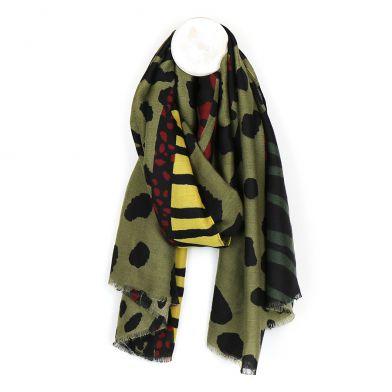Khaki mix large animal print scarf By POM