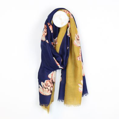 Diagonal navy and mustard floral scarf by POM