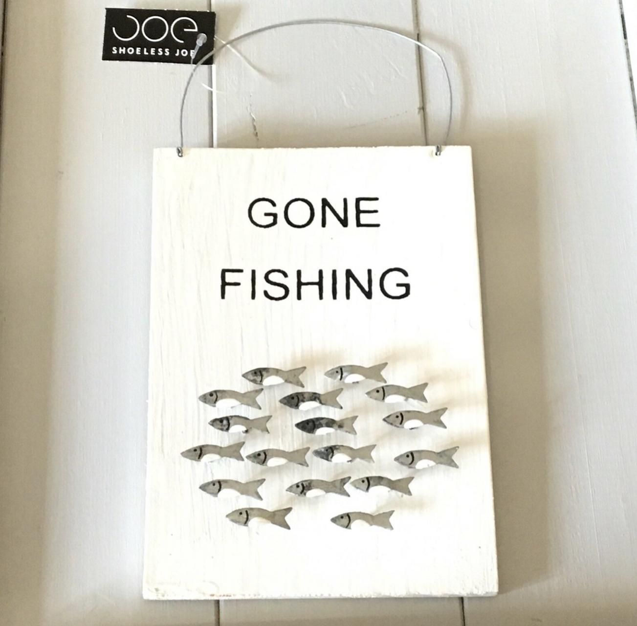 Gone fishing wooden sign by shoeless joe