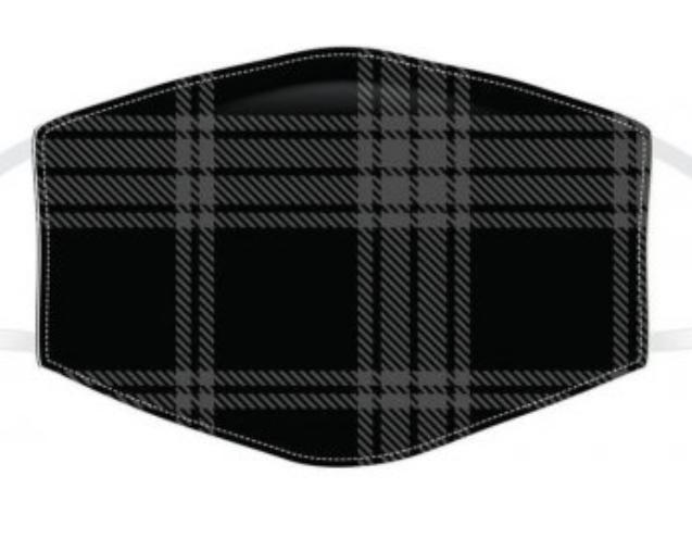 Black and Grey Tartan Reusable Face Covering
